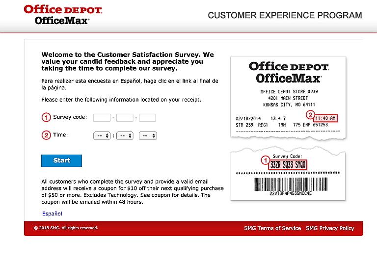 www.officedepot.com/feedback survey homepage