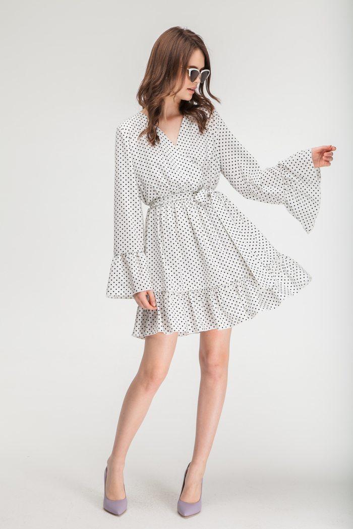 Платье с воланами белое в горох - THE LACE