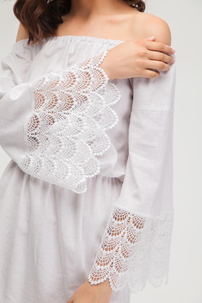 Платье из льна белое с хлопковым кружевом - THE LACE