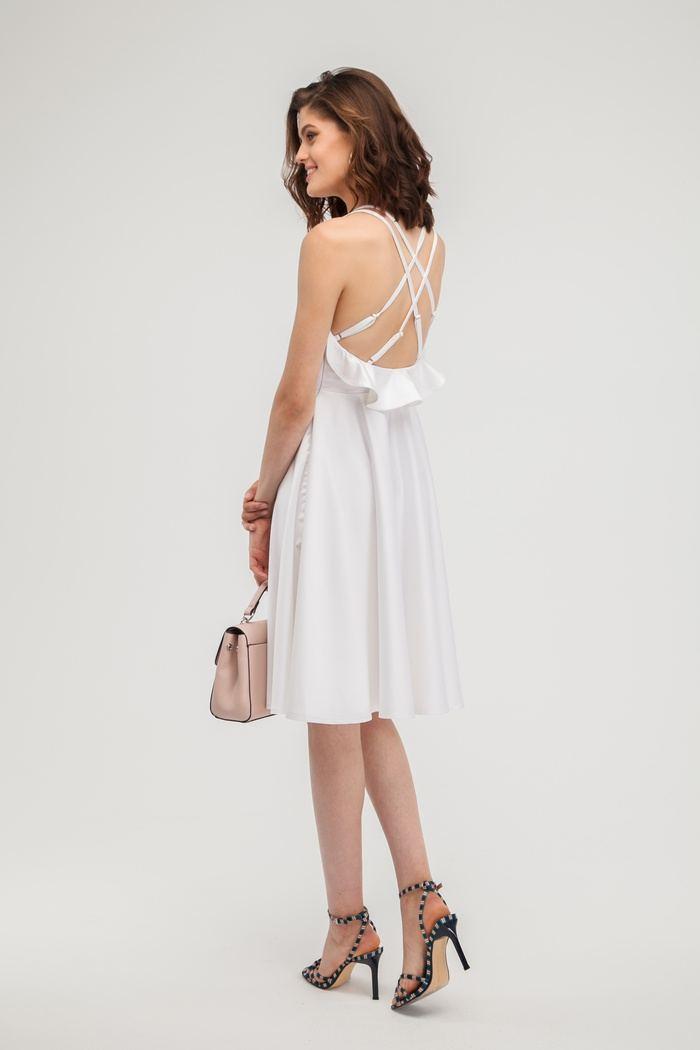 Платье атласное с открытой спиной белое - THE LACE