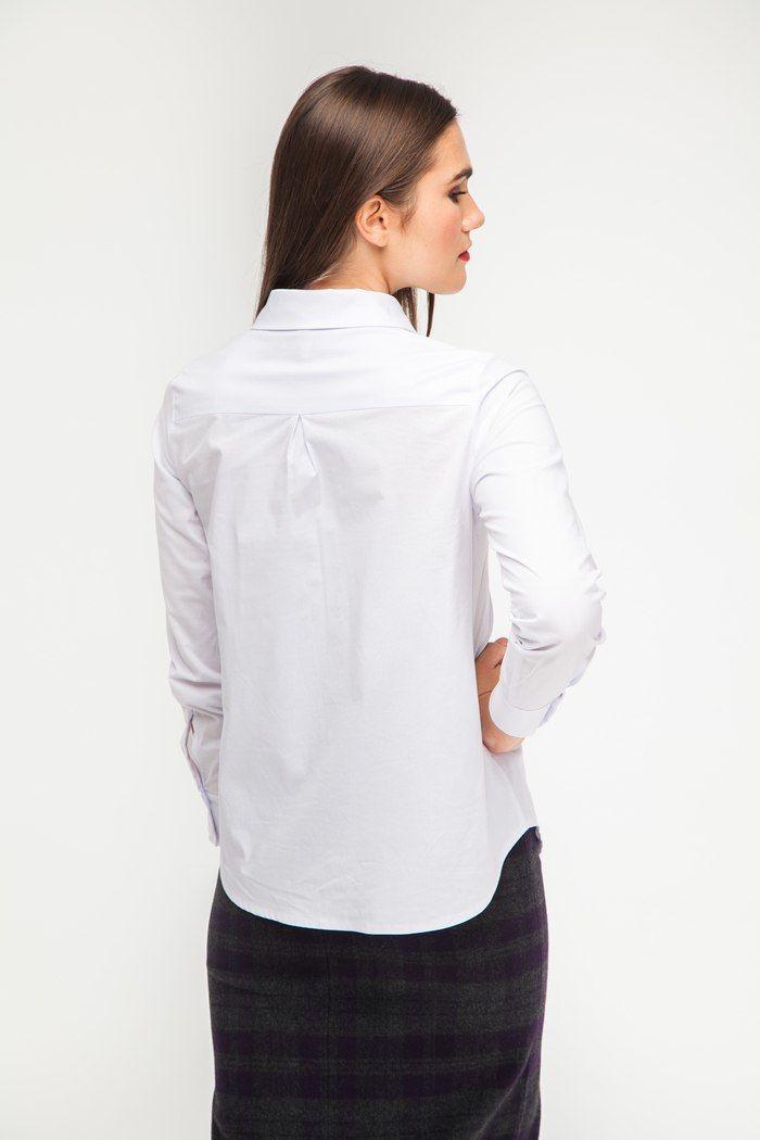 Рубашка с накладным карманом белая - THE LACE