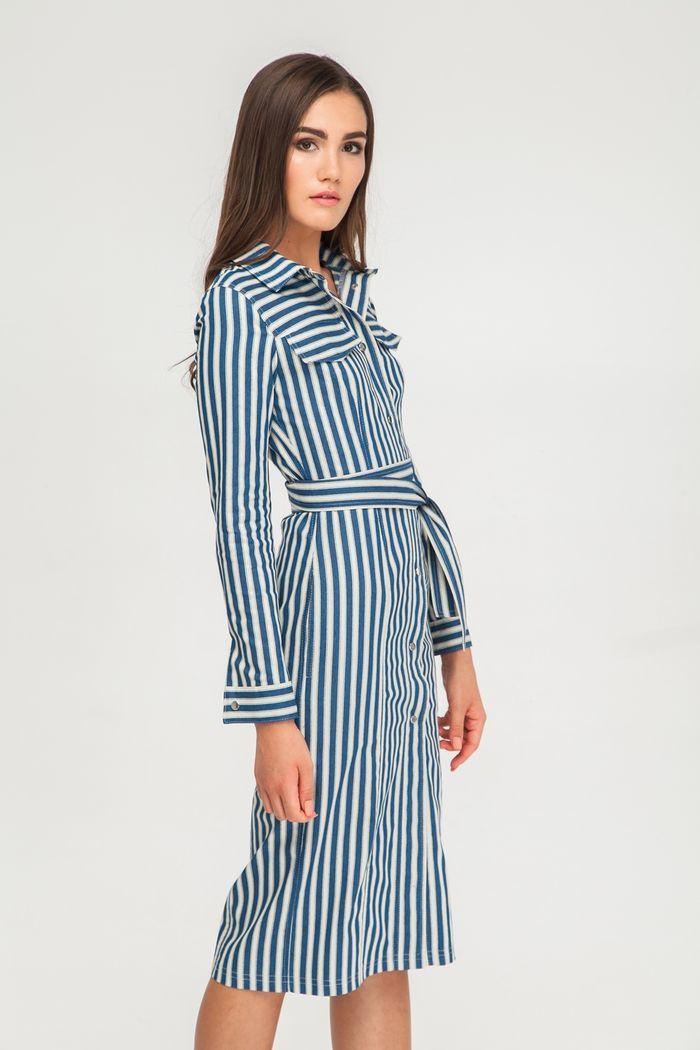 Платье миди из денима на кнопках в полоску - THE LACE