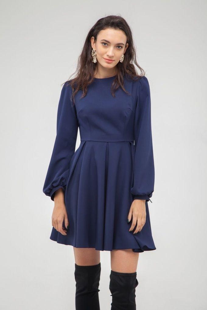 Платье со складкой синее - THE LACE