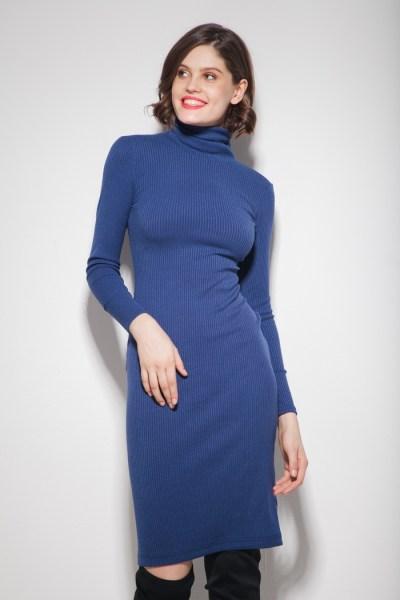 Платье под горло синее - THE LACE