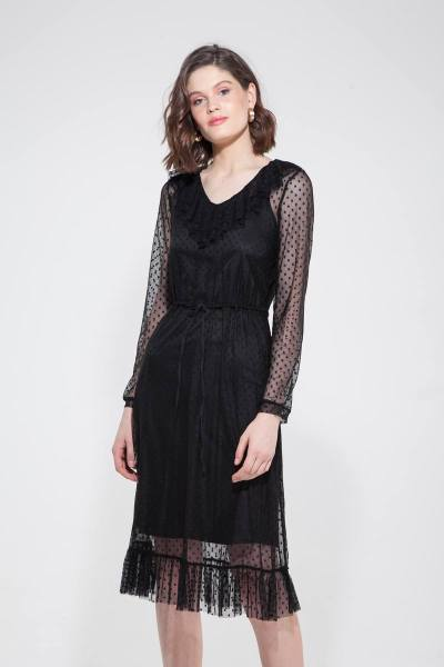 Платье из сетки в горох с воланами черное - THE LACE