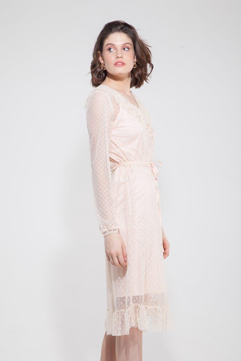 Платье из сетки в горох с воланами молочное - THE LACE