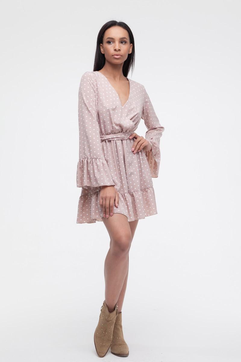 Платье с воланами в горох капучино - THE LACE