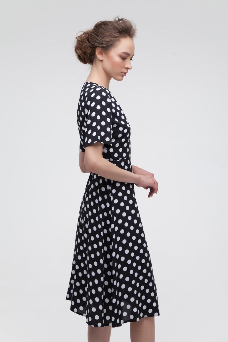 Платье на запах в горох миди черное - THE LACE