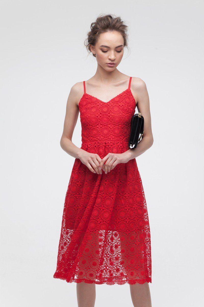 Платье кружевное красное — THE LACE