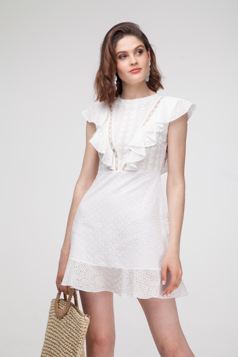 Платье мини с вышивкой белое - THE LACE