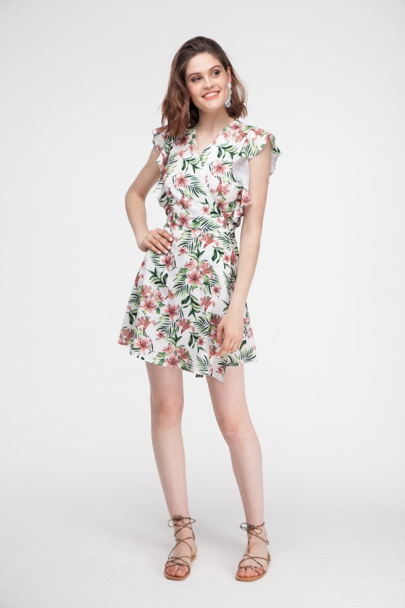 Платье мини на запах с тропическим принтом - THE LACE