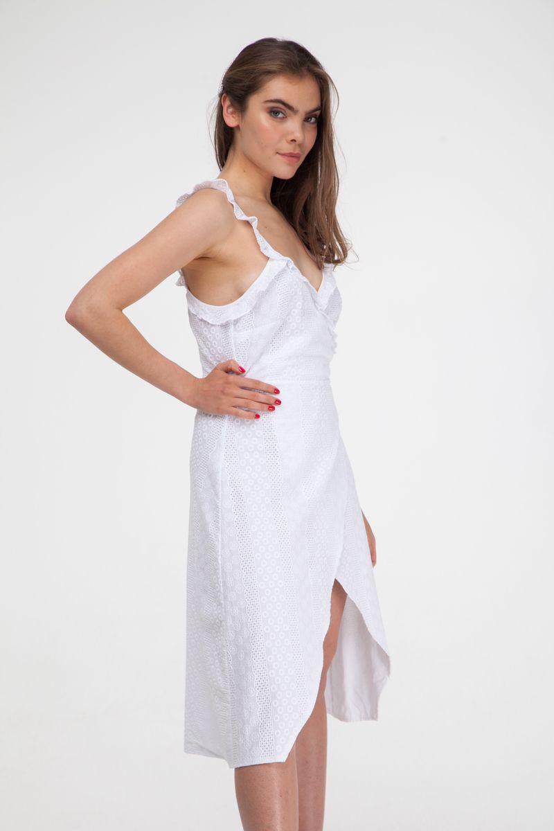 Сарафан миди на запах с вышивкой белый - THE LACE