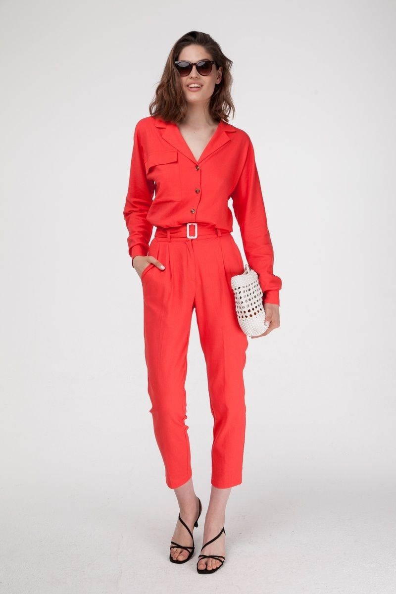 Костюм из льна коралловый - рубашка и брюки - THE LACE