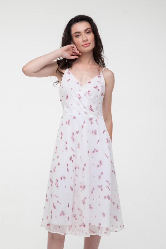 Платье на тонких бретелях Sensual flowers белое