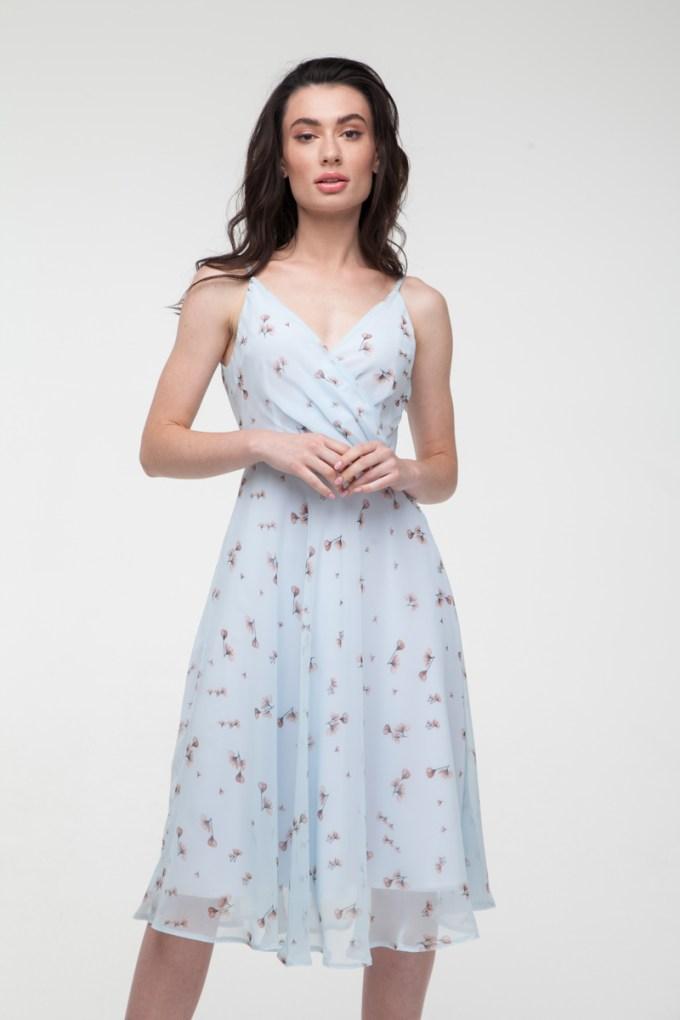 Платье на тонких бретелях Sensual flowers голубое