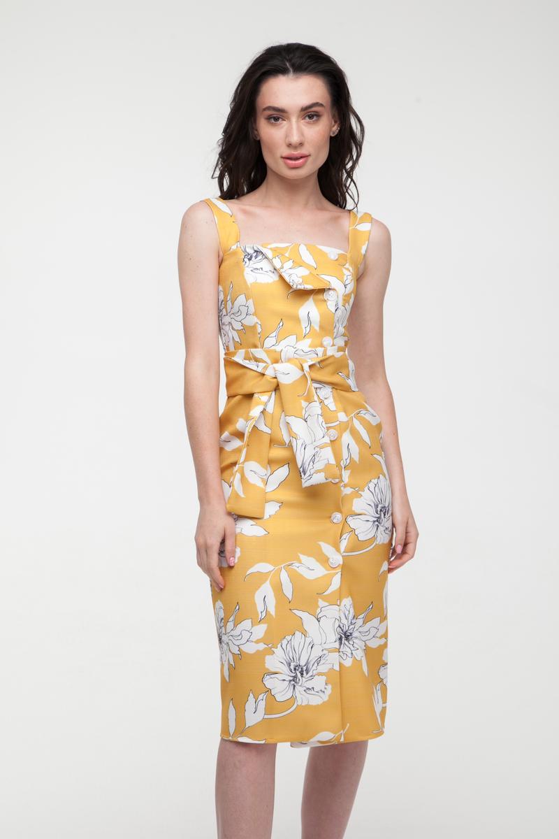 Сарафан из льна желтый Sunny Flowers