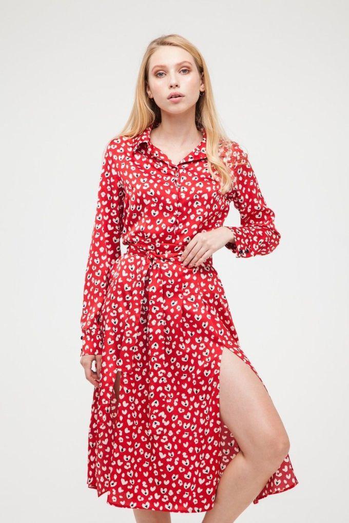 Платье-рубашка миди с разрезами Red hearts - THE LACE