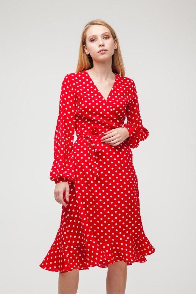 Платье миди с воланом в горох красное - THE LACE