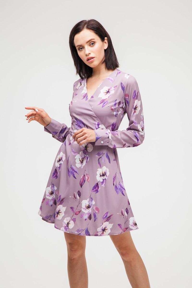 Платье на запах мини Violet flowers - THE LACE