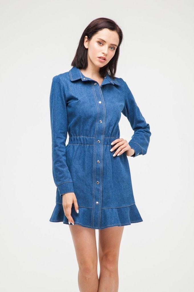 Платье мини с воланом из денима синее - THE LACE