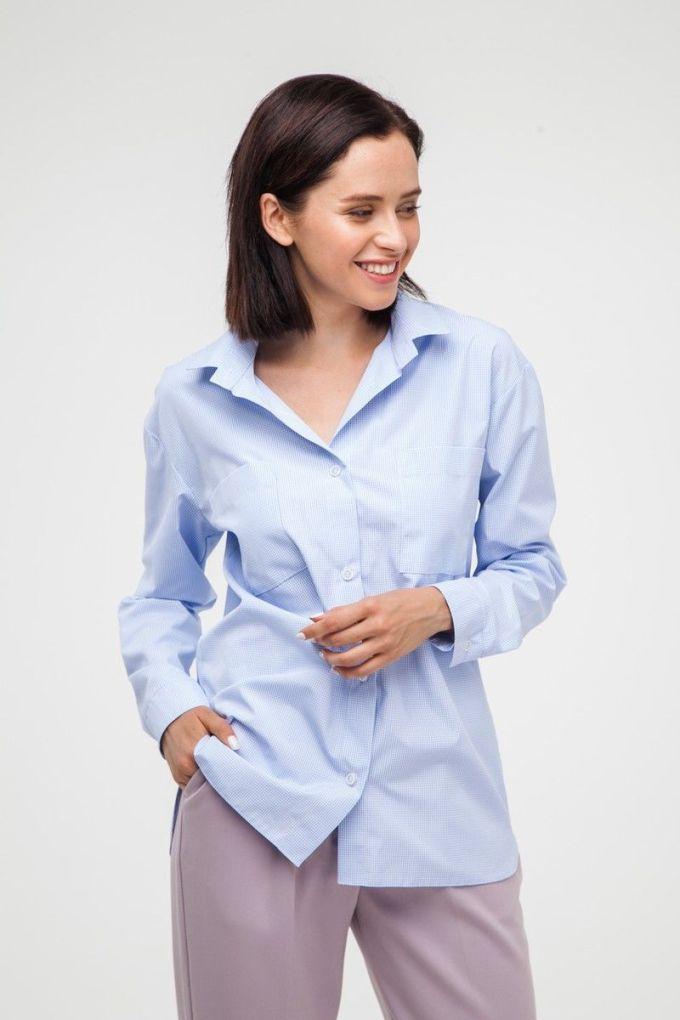 Рубашка oversize в клетку голубая - THE LACE