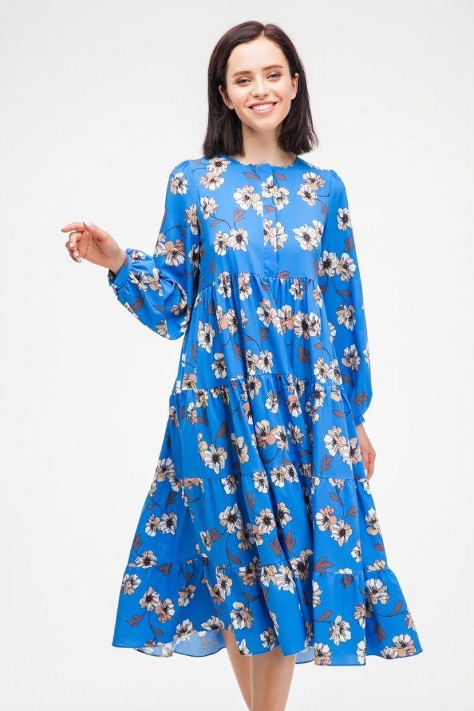Платье миди свободного кроя Pretty flowers синее - THE LACE