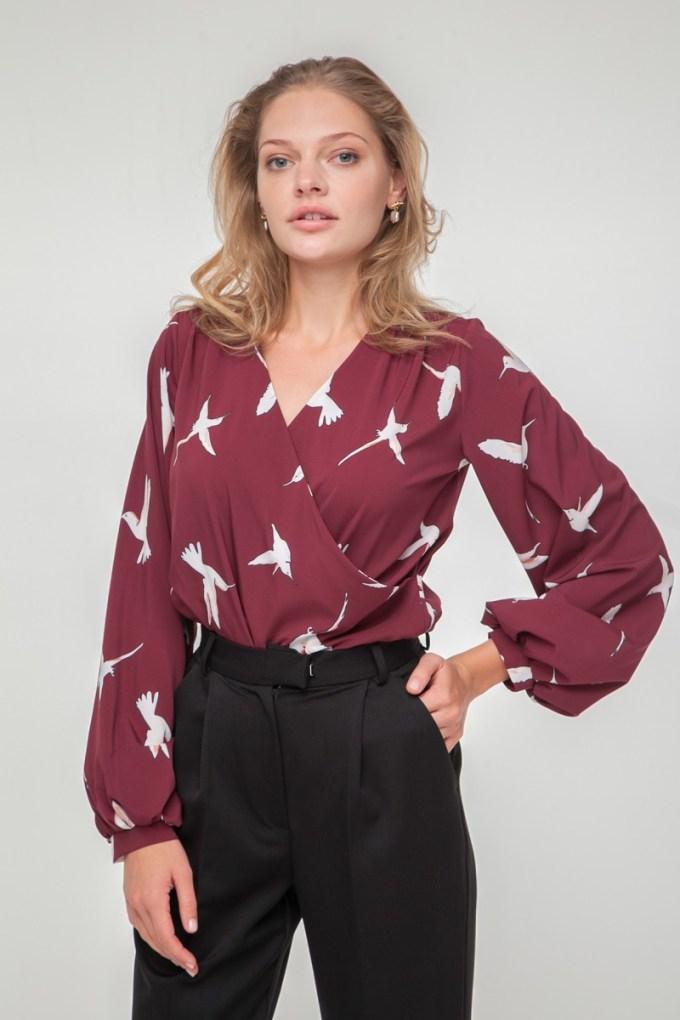 Блуза на запах Colibri винная - THE LACE