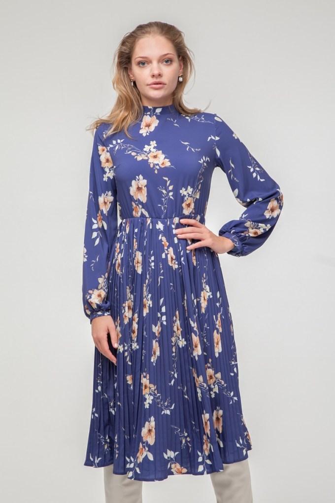 Платье миди с юбкой плиссе синее Evening bloom - THE LACE