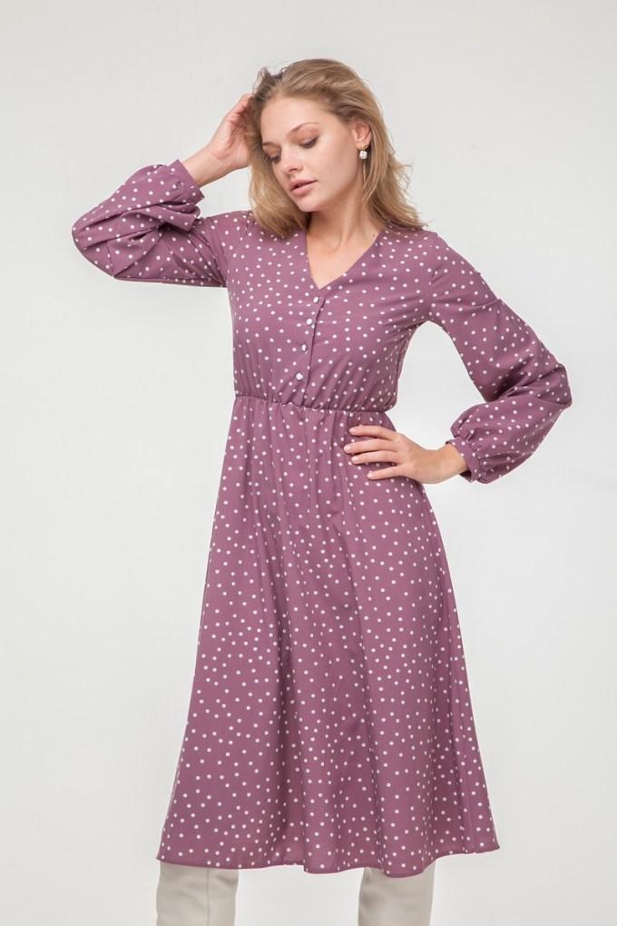Платье миди с пуговицами в горох лиловое - THE LACE