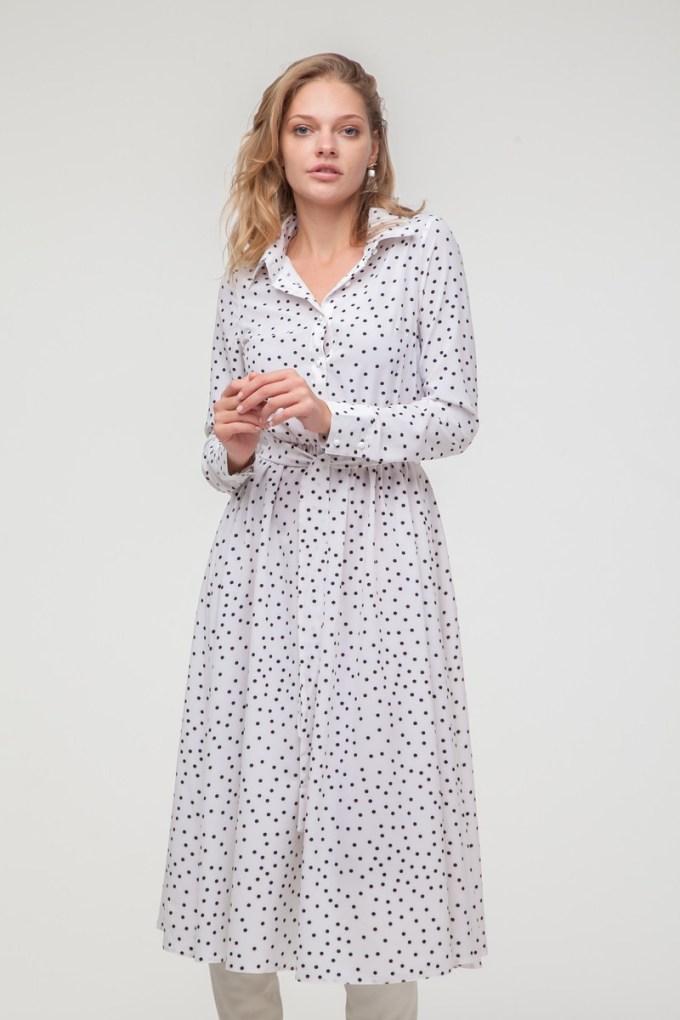Платье-рубашка миди в горох белое - THE LACE