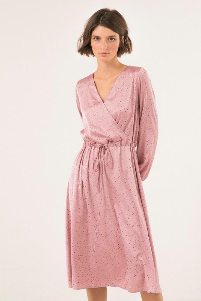 Платье миди с вырезом розовое - THE LACE