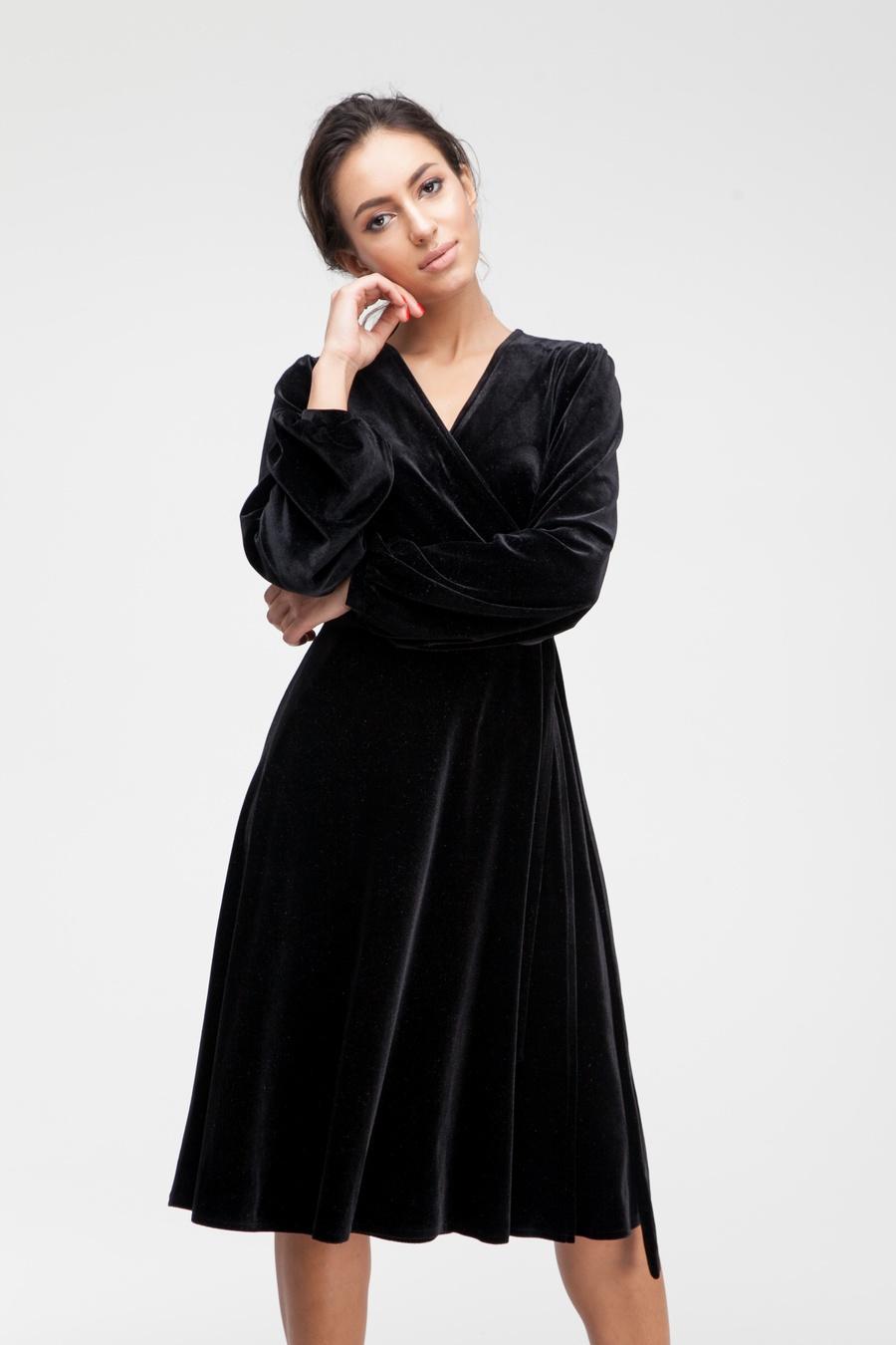 Платье миди на запах из бархата черное - THE LACE