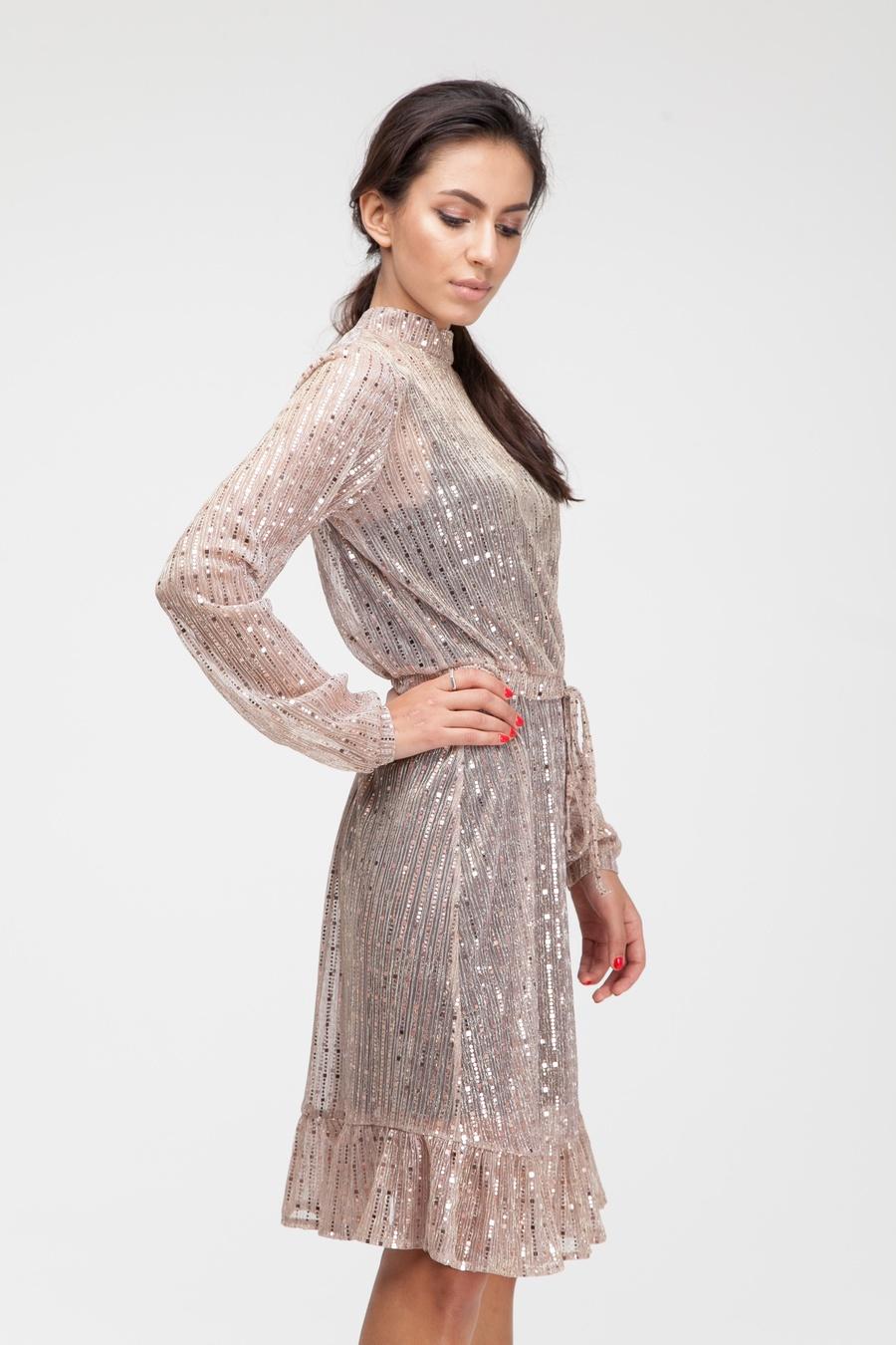 Платье миди с воланом и блестками золотое - THE LACE