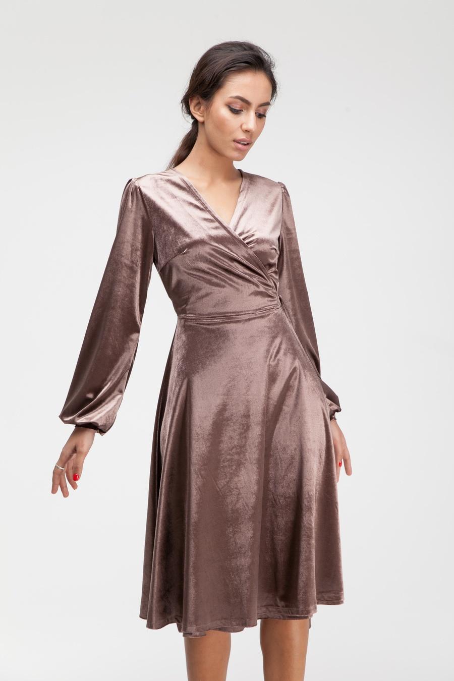 Платье миди на запах из бархата капучино - THE LACE