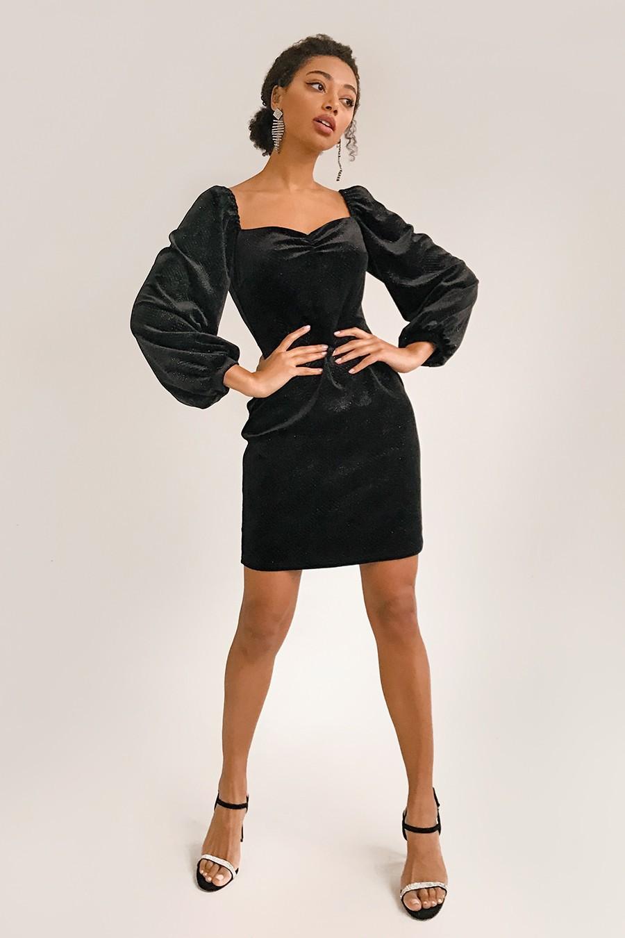 Платье мини из бархата с блестками черное - THE LACE
