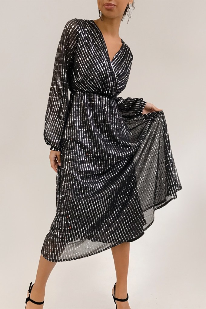 Платье миди с блестками черное - THE LACE