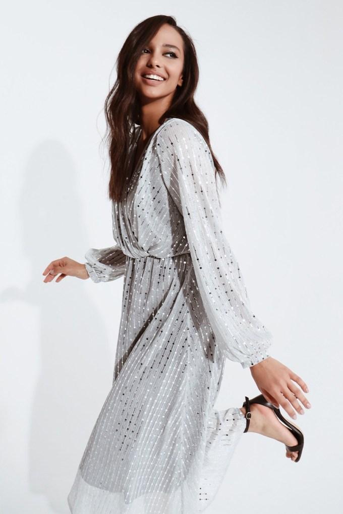 Платье миди с блестками серебристое - THE LACE