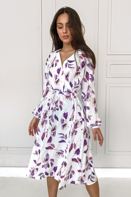Платье миди на запах Purple flowers - THE LACE