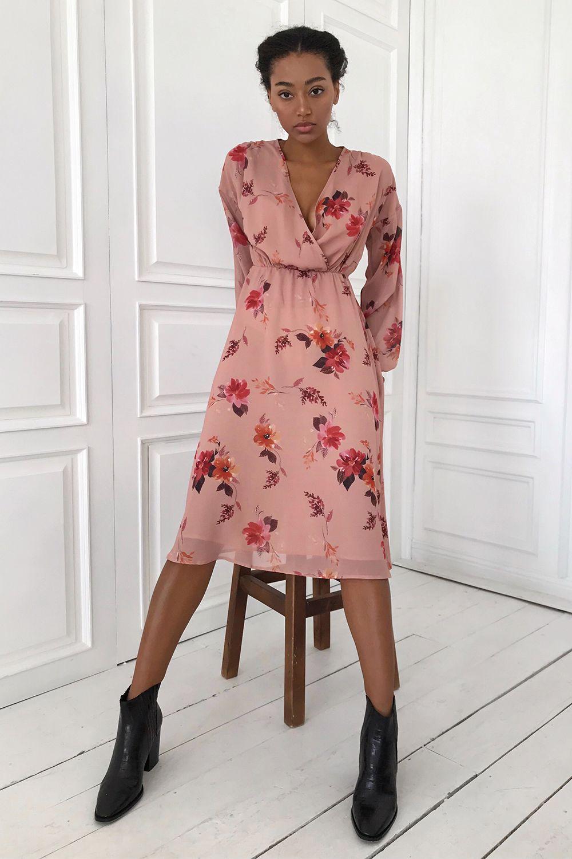 Платье миди бежевое Autumn mood - THE LACE