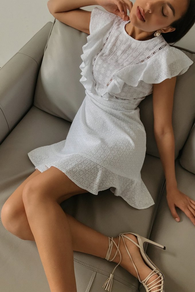 White mini dress with embroidery - THE LACE