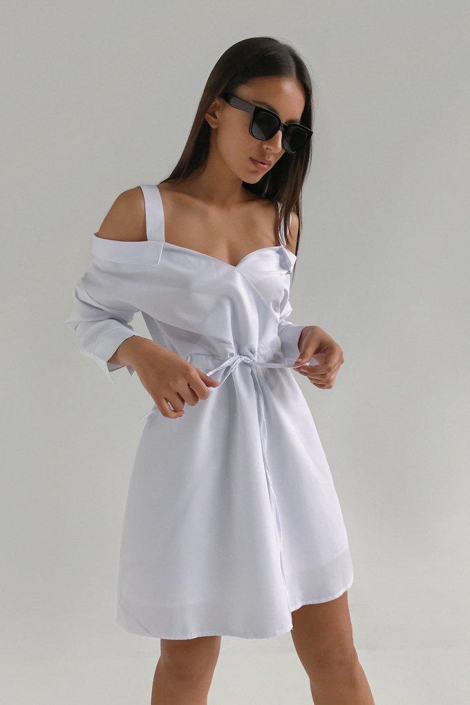 Платье-рубашка со спущенными плечами белое - THE LACE