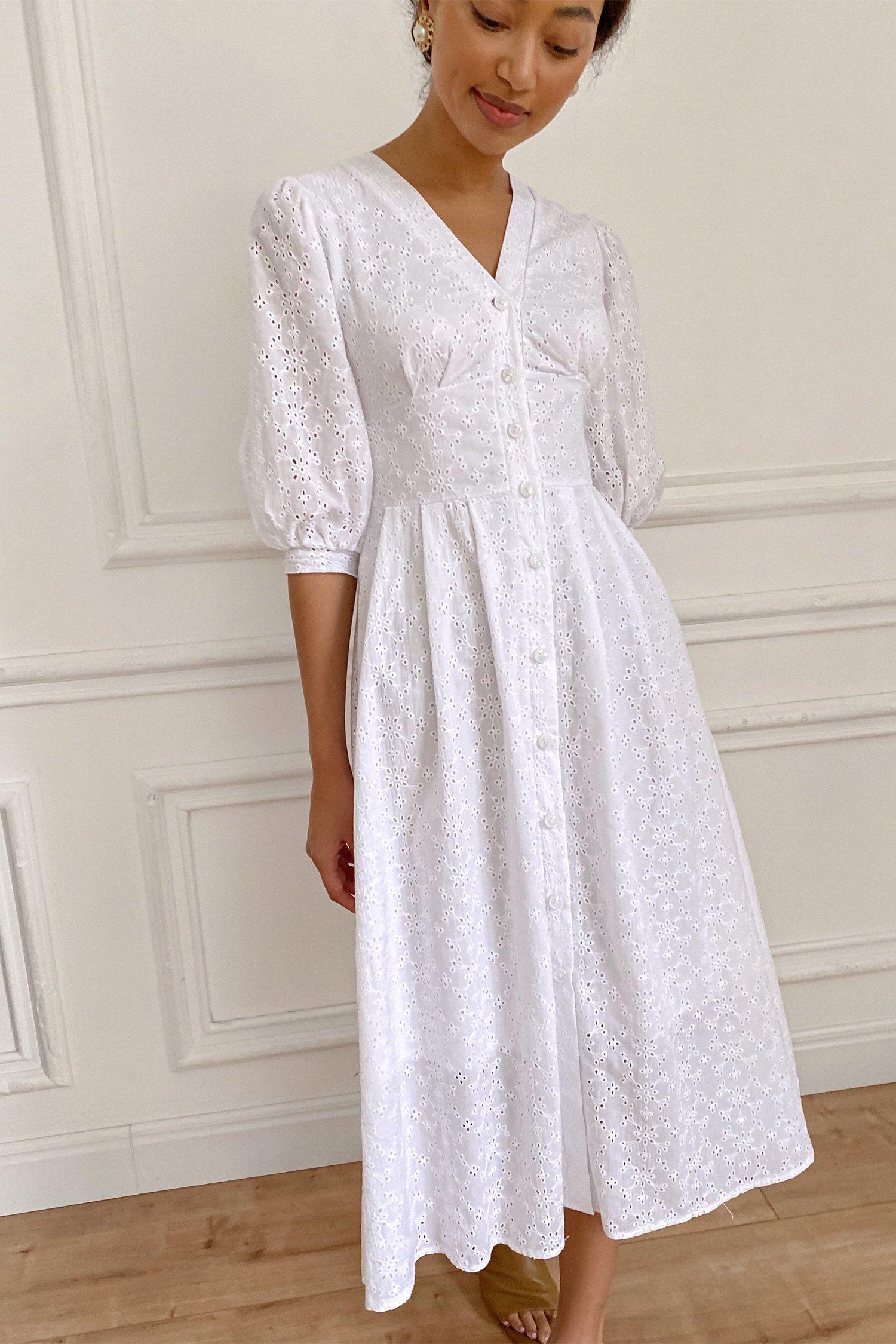 Платье миди с вышивкой белое - THE LACE