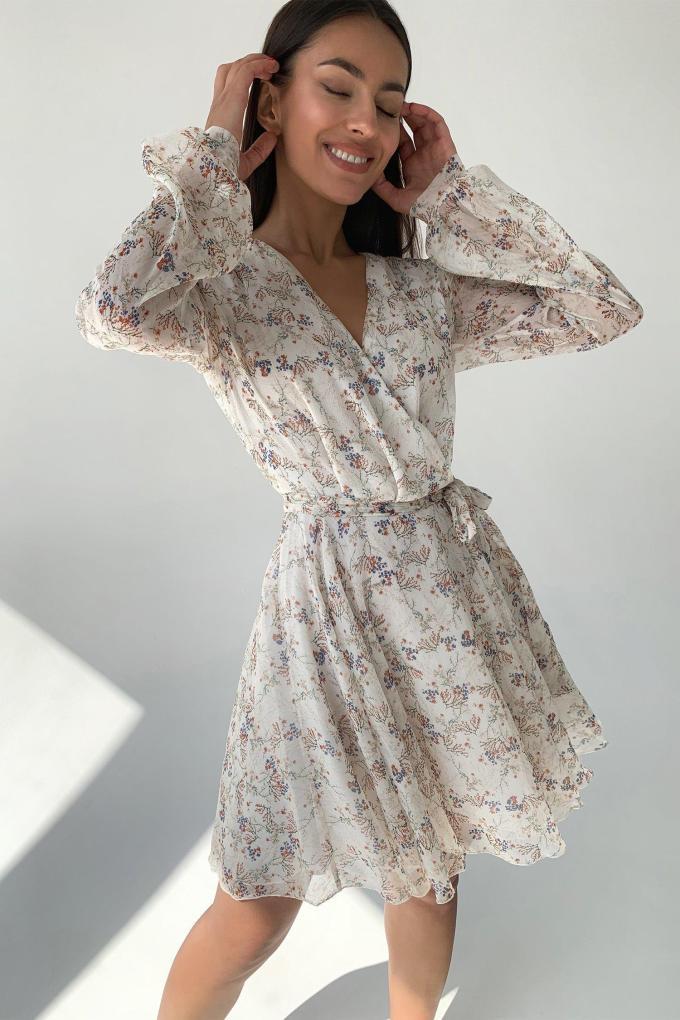 Платье мини молочное Flower bloom - THE LACE