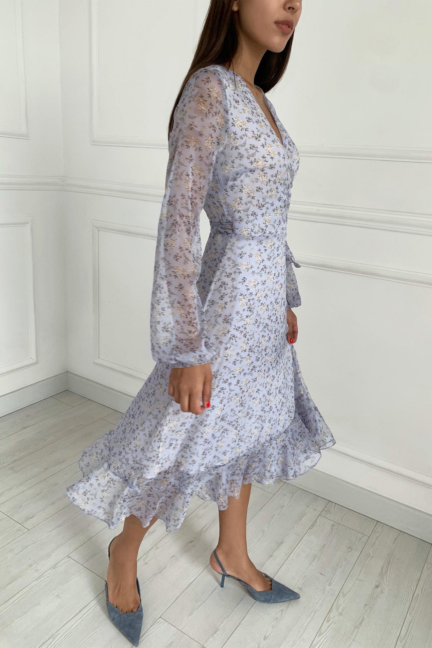 Платье миди на запах лавандовое Vintage flowers - THE LACE