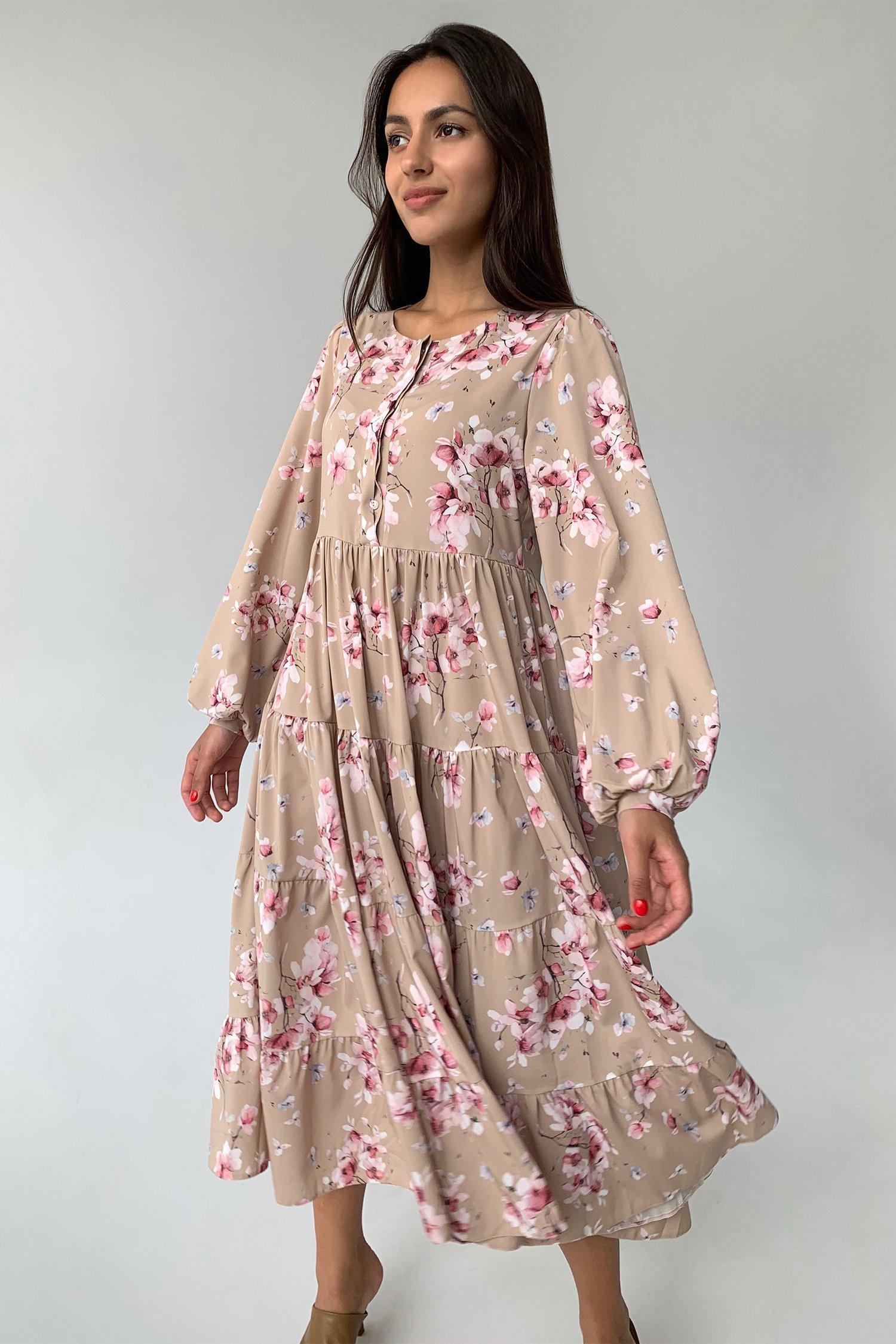 Платье миди свободного кроя карамельное Magic bloom - THE LACE