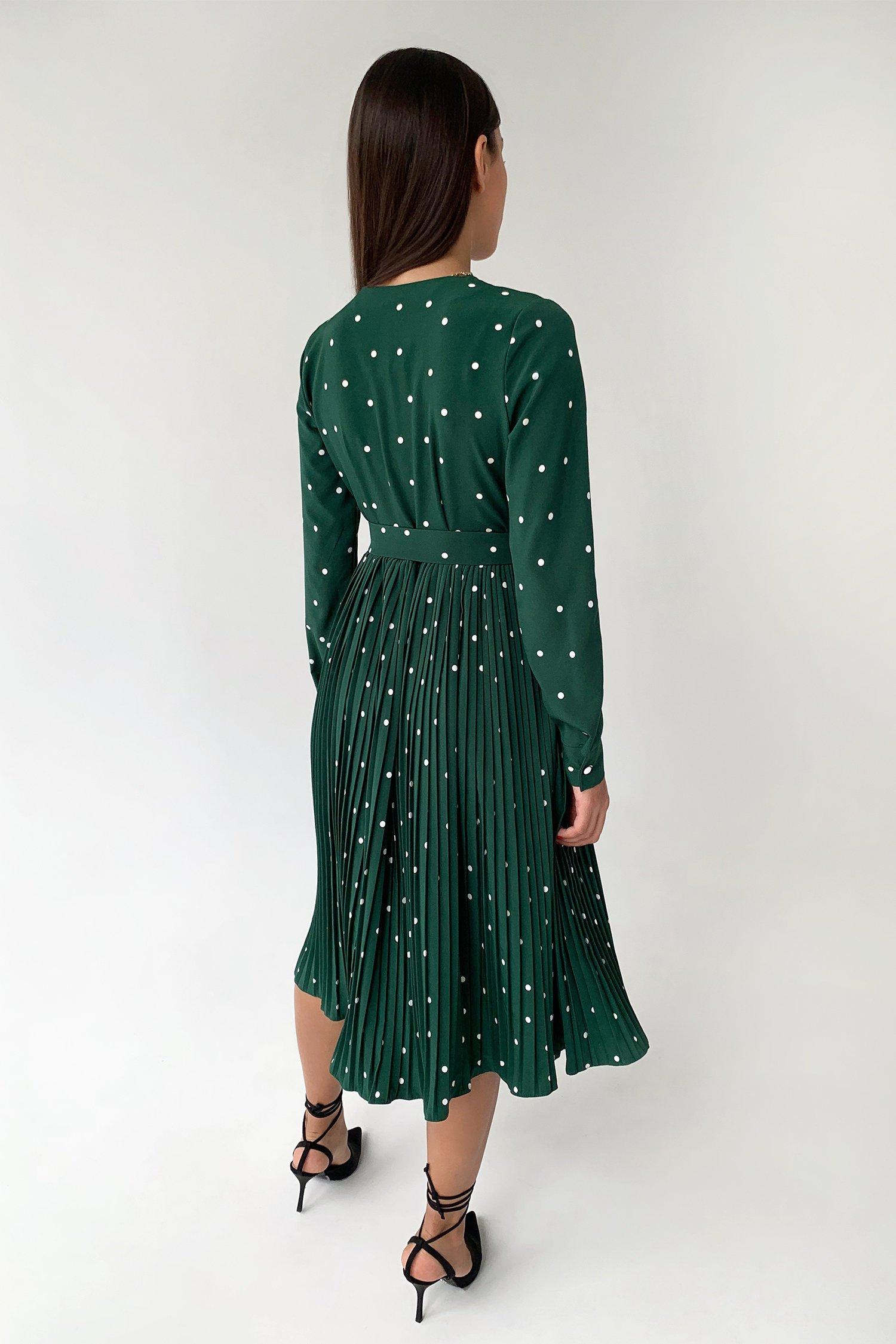 Платье миди с юбкой плиссе в горох изумрудное - THE LACE