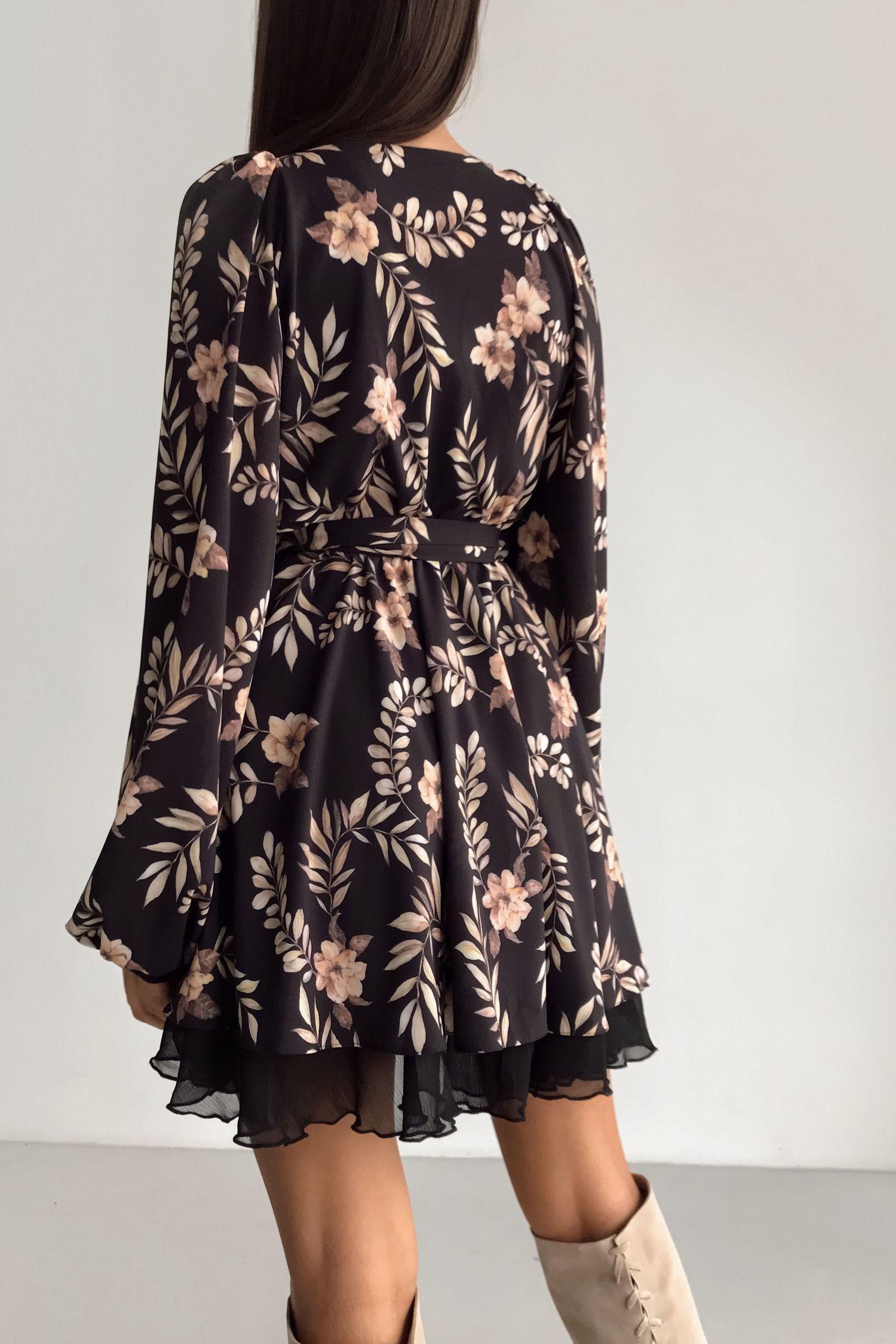Сукня міні чорний Золоті квіти - THE LACE