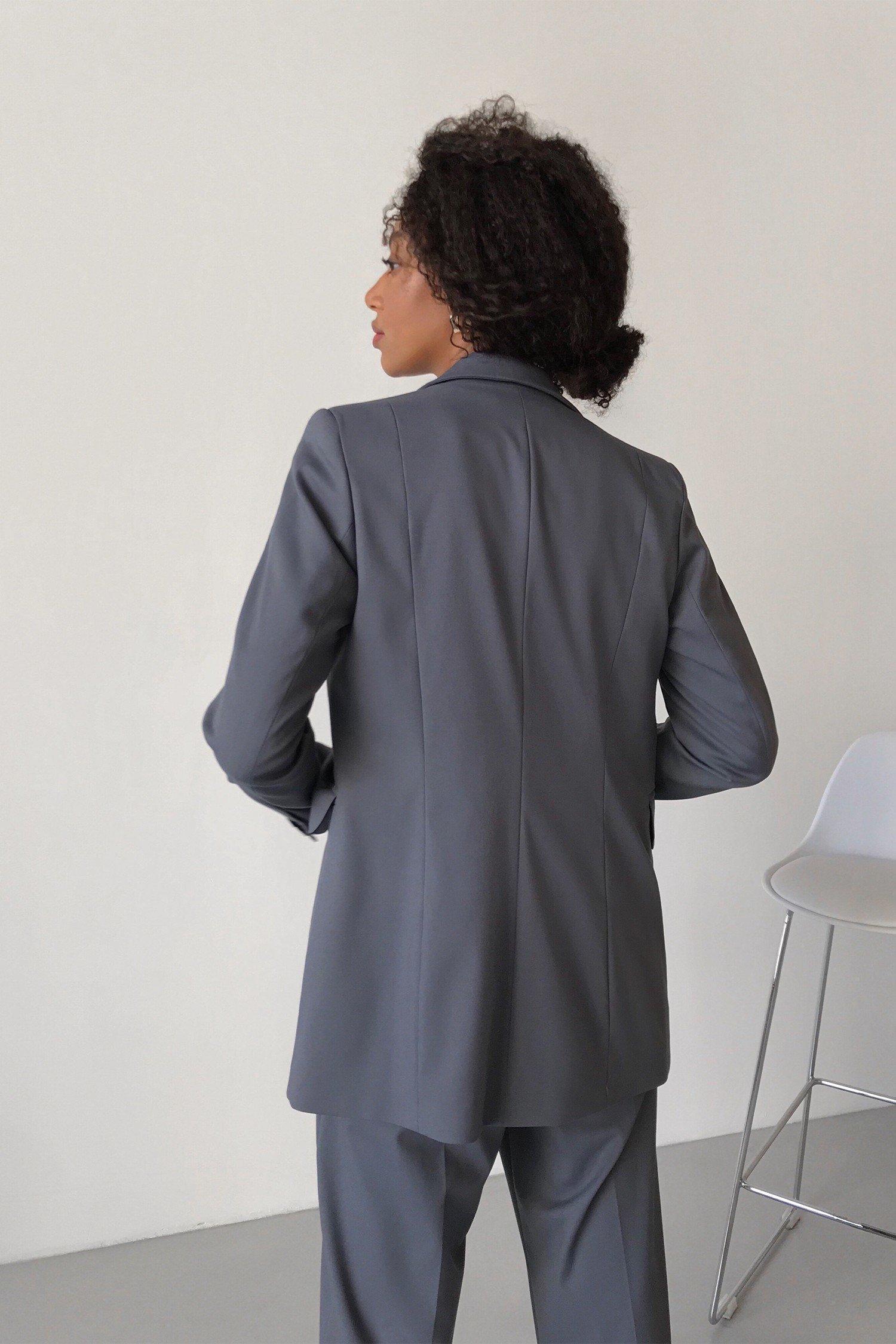 Жакет однобортный с поясом серый - THE LACE