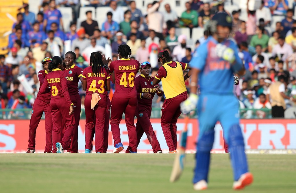 """""""MOHALI, INDIA - MARCH 27: West Indies players celebrate a wicket during the Women's ICC World Twenty20 India 2016 match between West Indies and India at IS Bindra Stadium on March 27, 2016 in Mohali, India. (Photo by Jan Kruger-IDI/IDI via Getty Images)"""""""