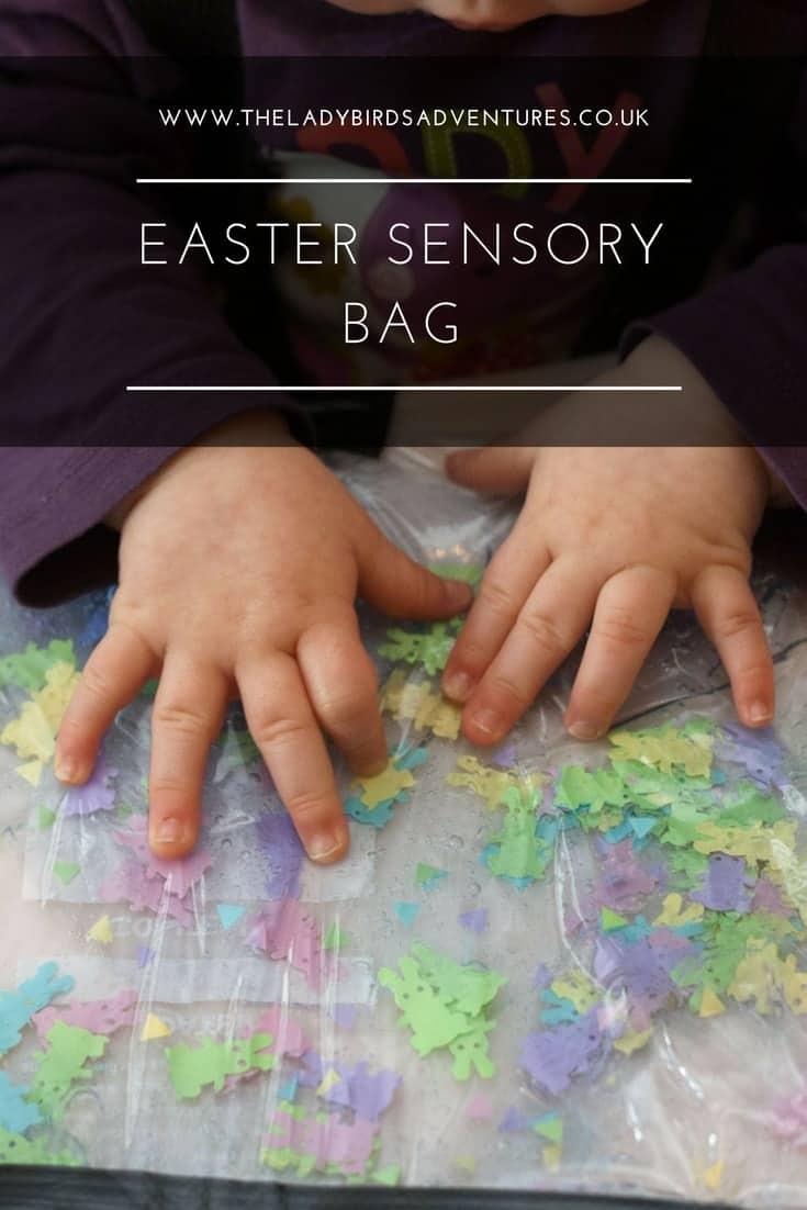 Easter sensory bag for babies and toddlers. Mess free sensory play.